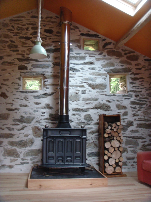 Log box and stove