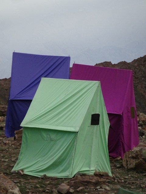 A collection of toilet tents